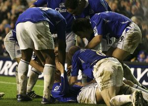 Everton v Newcastle United - Phil Neville celebrates with team mates after scoring