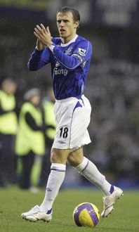 Everton v Newcastle United - Phil Neville applauds the fans