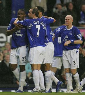 players staff/andy van der meyde/everton v newcastle united victor anichebe celebrates