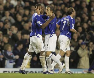 Everton v Newcastle United Victor Anichebe celebrates after scoring his second goal