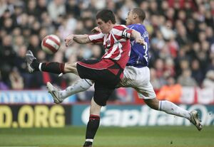 Sheffield United v Everton - James Vaughan in action against Chris Morgan