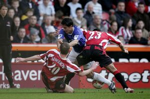 Sheffield United v Everton - Mikel Arteta in action against Chris Armstrong and Ahmed