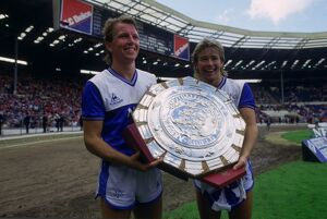 Trevor Steven and Adrian Heath with the Charity Shield
