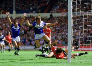 Trevor Steven scores the opener in the 1985 Charity Shield
